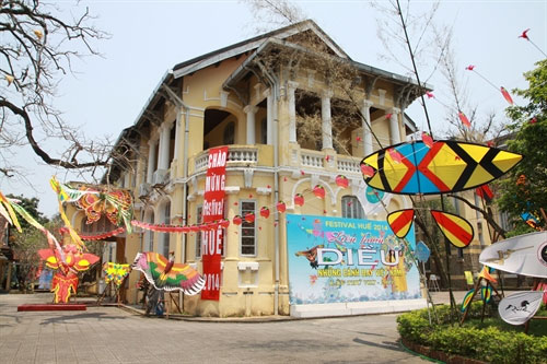 Colourful culture: Exhibition of kites at Hue Museum of Culture, which resides in a French colonial building.