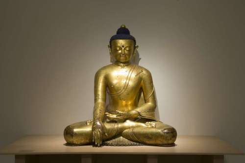 """A monumental gilt bronze� Buddha from 14th Tibet is on view in the exhibition """"Buddhist Art from the Roof of the World"""" at the Berkeley Art Museum. Courtesy BAMPFA. Photo: BAMPFA Photo: BAMPFA"""