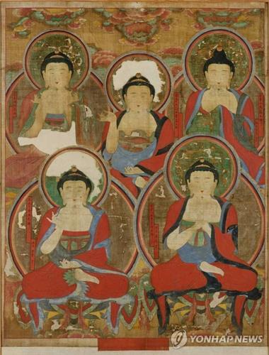 """The Obuldo,"" an 18th-century Korean painting of Five Buddhas. Its American owner Robert Mattielli will return it to South Korea next year as it was belatedly discovered that the work had been stolen from Buddhist temple Songgwangsa in South Korea's southwestern city of Suncheon, in the early 1970s. (Photo courtesy of Korean Cultural Heritage Administration) (Yonhap)"