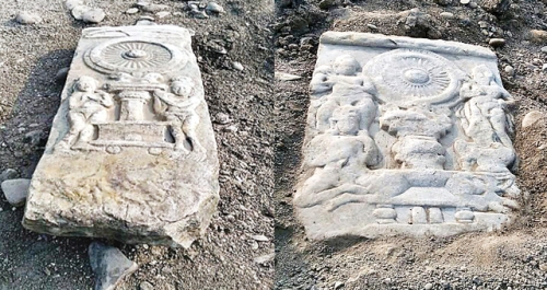 The Buddhist panels discovered on the bed of the River Gundlikamma in Prakasam district on Saturday