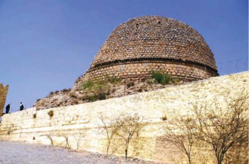 A Buddhist stupa in Jamrud tehsil near Torkham Highway is a testimony to the historical and archaeological significance of Khyber Agency. —Dawn
