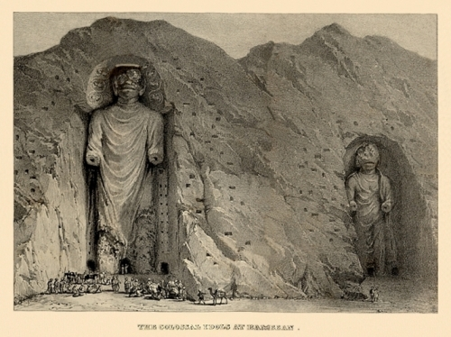 The Colossal Idols at Bameean by Alexander Burnes, 1834, with dark incisions as caves. From columbia.edu